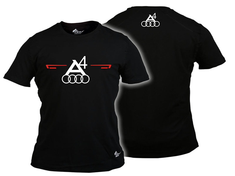Baskılı Tişört Audi A4 Siyah